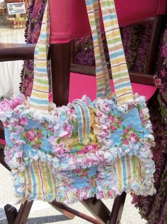 Shabby Chic Small Rag Quilt Purse Pink Roses. $25.00, via Etsy.