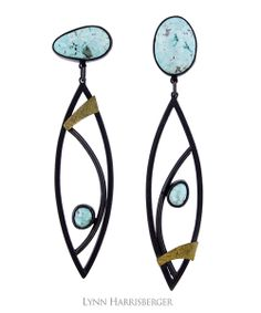 "TER-1303 | Asymmetric Leaf Earrings –– Natural Nevada Blue Moon Turquoise; Oxidized Sterling Silver & 18K gold bimetal. 5/8"" x 3"" 