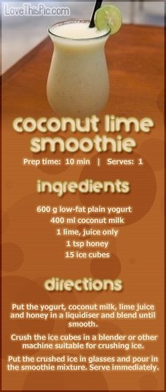 Coconut & Lime Smoothie Recipe Pictures, Photos, and Images for Facebook, Tumblr, Pinterest, and Twitter