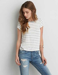 AEO Tomgirl T-Shirt , Black | American Eagle Outfitters