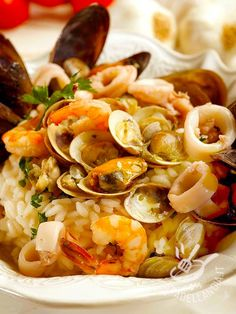 Risotto Recipes, Rice Recipes, Pasta Recipes, Italian Dishes, Italian Recipes, Seafood Dishes, Seafood Recipes, How To Make Risotto, Love Food