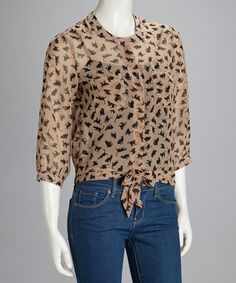 Take a look at this Brown Kitty Tie-Front Top by Simply Irresistible on #zulily today!