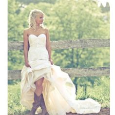 Cute picture of the bride in cowboy boots. Love the garter in the ...