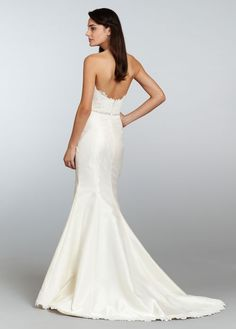 Style TK2308 > Bridal Gowns, Wedding Dresses > by Tara Keely > Shown Ivory Mikado Organza Trumpet gown with Sweetheart neckline. Alencon Lace bodice with Beading at waist & Hem Lace detail with Chapel Train (back)