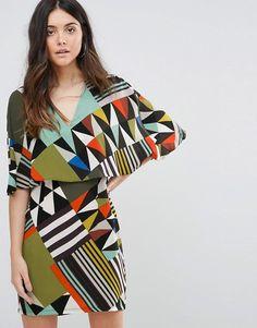 Liquorish V Neck Geometric Print Layered Shift Dress #vneck #geometric #layered #shiftdress #layereddress