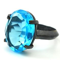 Swiss Blue Cab in Oxidized Sterling Silver Ring