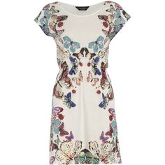 Cream butterfly print dress ($23) ❤ liked on Polyvore