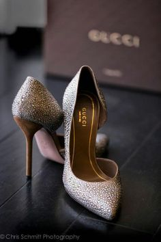 Silver bejeweled Gucci D'orsay heels
