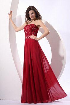 Strapless Classic Red Bridesmaids Dress - Order Link: http://www.theweddingdresses.com/strapless-classic-red-bridesmaids-dress-twdn2745.html - Embellishments: Beading , Crystal , Draped , ; Length: Floor Length; Fabric: Chiffon; Waist: Natural - Price: 95.59USD