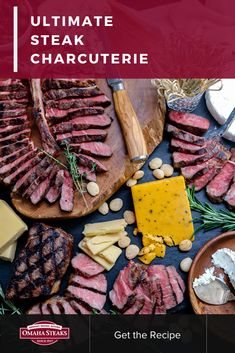 Serve an epic steak & cheese charcuterie in 5 simple steps - a unique and delicious charcuterie board for parties and holiday gatherings. Steak Appetizers, Cheese Appetizers, Different Cuts Of Steak, Omaha Steaks, Steak Cuts, Cheese Pairings, Charcuterie Board, Potlucks, Holiday Dinner