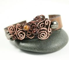 Leather Cuff Bracelet Copper Wire Wrap with Beads by WhimOriginals