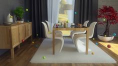 Fancy Dining Room with Elegant Furniture Ideas, Dining Room, Modern White Dining Chair with Chic Wooden Table and Cabinet