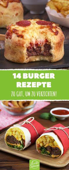 Groß oder klein, nur für mich oder für viele, ganz klassisch oder völlig verrückt: 14 Rezepte für Burger die keine Wünsche offen lassen! #leckerschmecker #kochen #backen #rezepte #burger #hamburger #fastfood #cheeseburger #käse #hackfleisch #meat #bacon #hack #snacks #fingerfood #party #büfett #grillen #fleisch #frikadelle #boulette #kreativ #ideen #tipps #tricks #ausprobieren