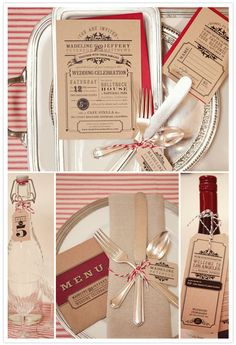 Love the kraft paper invite design and the cutlery tied with bakers twine