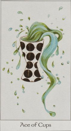 "Ace of Cups from Rome Choi's 'Dreaming Way Tarot"" ~ This is a deep, spiritual well of emotional force, a direct link to your intuitive self. Essential element is love."