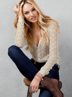 light sweater, skinnies, with booties or cowgirl boots.