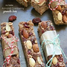 Healthy Almond Cranberry Granola Bars by ---- @LifeMadeSweeter - These chewy no-bake almond and cranberry granola bars make a healthy, satisfying snack that are made with no butter, sugar free, vegan and are gluten free with certified gluten free oats.