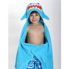 Sherman the Shark Hooded Towel - Kids Plush Terry Hooded Towels - Kids Toddler Towels, Hooded Bath Towels, Baby Towel, Stroller Blanket, Childrens Gifts, Costume, Kids Bath, Washing Clothes, Hoods