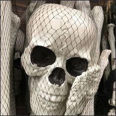 Do-It-Yourself Skeleton Mesh Bag Merchandised – Fixtures Close Up Skeleton, Skulls, Hooks, Retail, Mesh, Halloween, Bags, Handbags, Skeletons