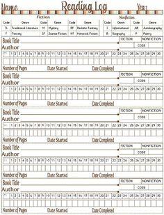 Homeschool reading log forms - I like this format.