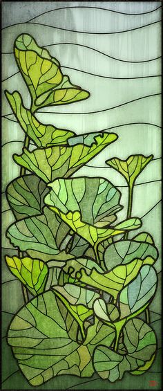Pumpkin leaves stained glass - design by 'Rusty'