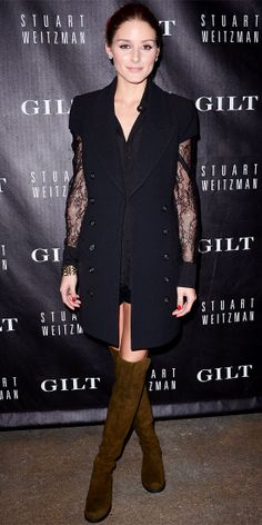 Olivia Palermo - Look of the Day - InStyle; At the Stuart Weitzman and Gilt digital pop-up shop launch, Olivia Palermo stepped up her style game, pairing her olive suede Stuart Weitzman over-the-knee boots with a long-sleeve lace blouse, short shorts, a gold cuff and a short-sleeve tuxedo topper.