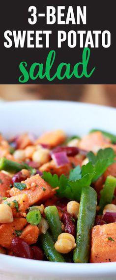 Three Bean Sweet Potato Salad recipe - This riff on retro three-bean salad adds sweet potatoes to the mix. We love this hearty twist on potato salad - perfect for potlucks, too. Vegan/dairy-free/gluten-free