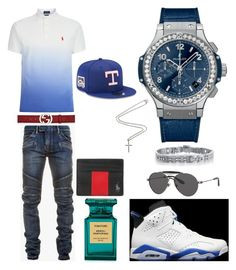 """Casual"" by pitbull8382 on Polyvore featuring Balmain, Polo Ralph Lauren, Gucci, Tom Ford, Givenchy, Hublot, Marco Ta Moko, New Era, men's fashion and menswear"