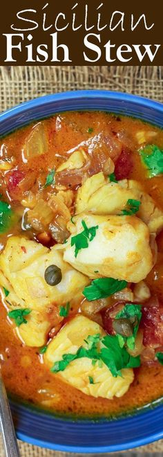 Sicilian Fish Stew Recipe The Mediterranean Dish Italian comfort in a bowl My favorite Fish fillet pieces cooked in a white wine and tomato broth with garlic capers and. Fish Dishes, Seafood Dishes, Seafood Recipes, Soup Recipes, Cooking Recipes, Whole30 Recipes, Healthy Stew Recipes, Seafood Platter, Cabbage Recipes