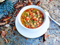 Blog de cuina de la dolorss: Potaje caldoso con judías verdes, garbanzos y chorizo