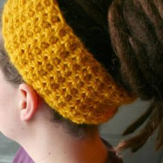 Wool Headband/Dreadband/Earwarmer Gold by thepinkwoobie on Etsy, $12.00