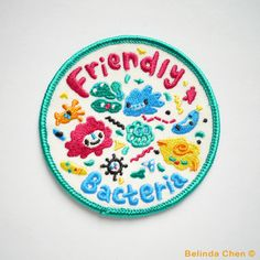 """Adorable """"Friendly Bacteria"""" embroidered iron-on patch by BelsArt on Etsy Cute Patches, Pin And Patches, Iron On Patches, Rock Shirts, Embroidery Patches, Embroidered Patch, Sewing Patches, Emblem, Cool Pins"""