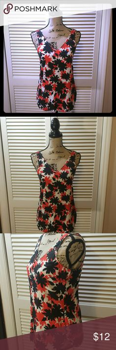 Gap Factory Outlet Tank Red, black,and white 100% vicose Gap Outlet Tank. Looks great with a cardigan or blazer for work or paired with a pair of black shorts for a more causal look. GAP Tops Tank Tops