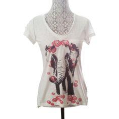 Womens vintage ELEPHANT Rose Headdress Flower Bohemian Slouchy T shirt Pocket screen print Top Alternative Apparel S M L XL More colors ($27) found on Polyvore