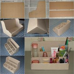 It+is+awesome+to+take+some+recycled+cardboard and+make+a+nice+desktop+organizer,+as+shown+in+this+DIY+project. With+its+multiple+dividers,+this+organizer+is+a+great+space+saver+to+put+away+your+cosmetics,+skin+care+supplies+and+jewelry+accessories. Diy Makeup Organizer Cardboard, Cardboard Storage, Make Up Organizer, Cardboard Box Crafts, Desk Organization Diy, Diy Desk, Paper Crafts, Diy Karton, Diy Recycling