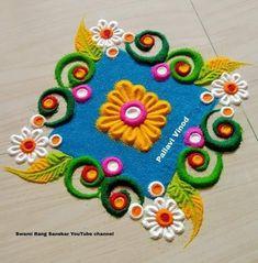 Easy Rangoli Designs Videos, Simple Rangoli Border Designs, Indian Rangoli Designs, Rangoli Designs Latest, Rangoli Designs Flower, Free Hand Rangoli Design, Small Rangoli Design, Rangoli Patterns, Rangoli Ideas