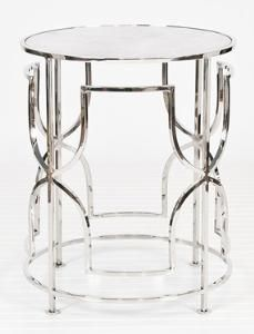 Lenora Nickel Side Table. Product in photo is from www.wellappointedhouse.com