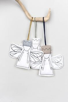 Christmas tree decorations Set of 3 Angels ornaments Country christmas Handmade hanging Angel Xmas tree Fireplace wall art Beige white gray