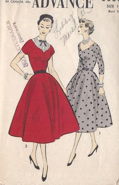 Vintage 1950's Misses ' Dress Pattern by CottageLaneTreasures, $16.00