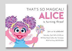 Abby Cadabby Sesame Street Birthday Invitation  Custom
