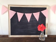 Valentine's Day Pink Felt Banner Triangle Bunting by SweetThymes, $24.00