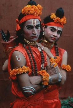Young men do the roles of Hindu gods Ram and Laxman in a theatrical performance of the 'Ram-Lila' in Mumbai [Formerly Bombay], Maharashtra, India.