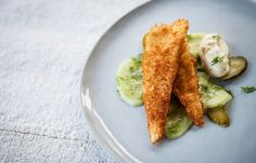 Deep-fried lemon sole with cucumber salad and lime mayonnaise