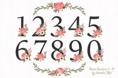 Coral Wedding Flower Numbers by Amanda Ilkov on Creative Market