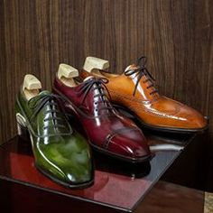 """We are honored to be a part of """"The Master Series"""" project. The shoes are displayed at in Sigapore. The patina for each shoe is created based on the shoe's design and style. Each shoe is crafted with a wine or spirit in mind. Beautiful Patina is done by Best Shoes For Men, Men S Shoes, Leather Dress Shoes, Dream Shoes, Hot Shoes, Luxury Shoes, Loafers Men, Leather Men, Me Too Shoes"""