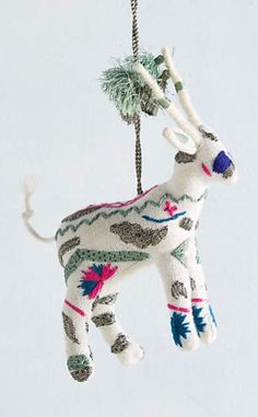 Embroidered Deer Ornament #anthrofave