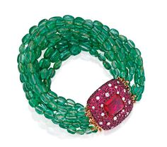 18 KARAT GOLD, SYNTHETIC RUBY,RUBY, EMERALD BEAD AND DIAMOND BRACELET, MICHELE DELLA VALLE