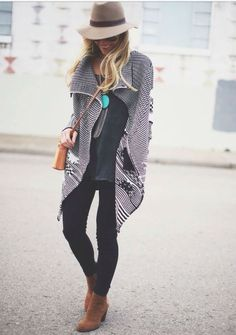 Boho fall/winter look. Fedora, loose cardi, skinny jeans, turquoise tassle necklace and booties. Stitch Fix Fall Winter