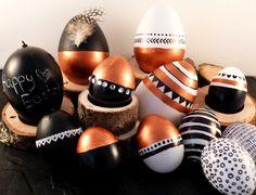 Ostereier bemalt mit Tafellack und Acrylfarbe