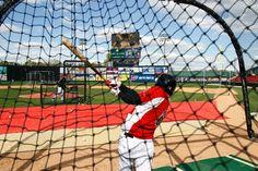 The Carolina Mudcats Cody Puckett hits during batting practice at Five County Stadium in Zebulon, N.C. on April 5, 2011. Photo: Chris Seward - The News & Observer